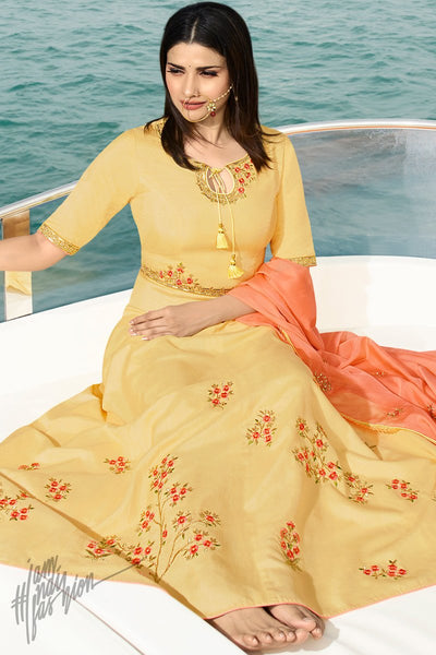 Yellow and Peach Silk Party Wear Gown