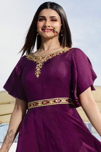 Dark Purple and Onion Pink Silk Party Wear Gown
