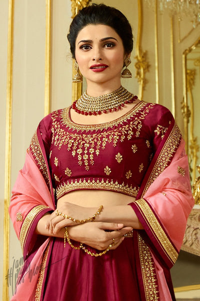 Garnet Red and Pink Sparkle Silk Lehenga Set