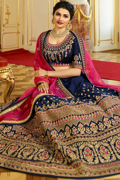 Denim Blue and Pink Sparkle Silk Lehenga Set