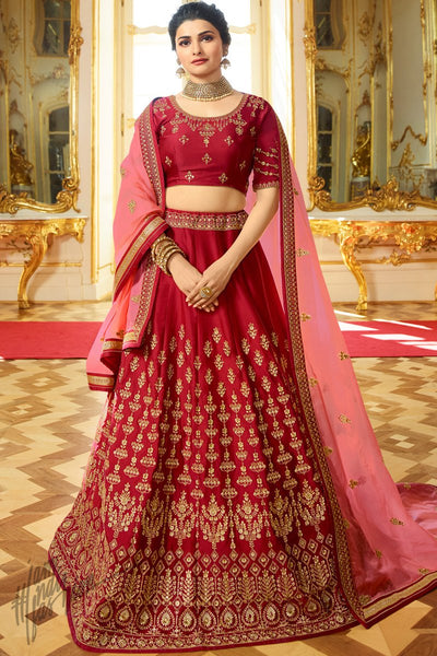 Scarlet Red and Pink Sparkle Silk Lehenga Set