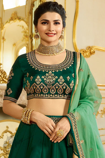 Bottle Green Sparkle Silk Lehenga Set
