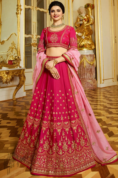 Magenta and Pink Sparkle Silk Lehenga Set