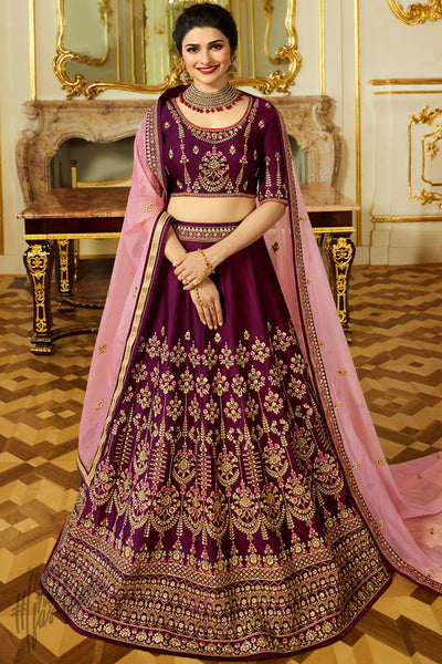 Plum Purple and Onion Pink Sparkle Silk Lehenga Set