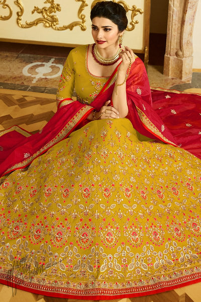 Mustard and Red Sparkle Silk Lehenga Set