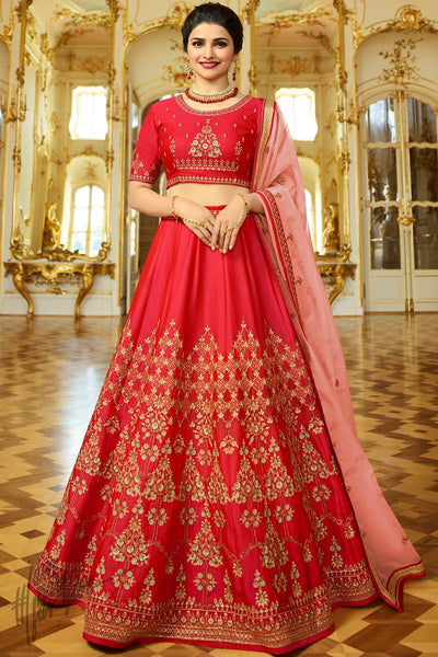 Red and Pink Sparkle Silk Lehenga Set