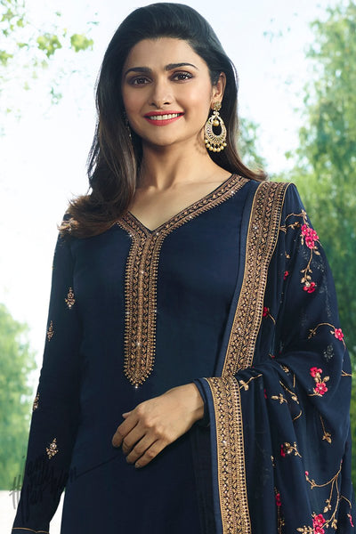 Navy Blue Georgette Silk Straight Suit