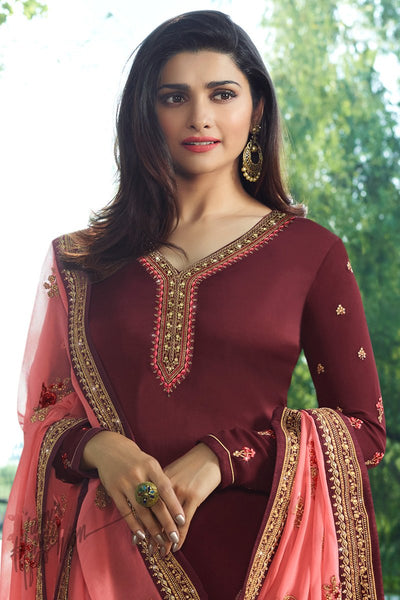 Wine and Pink Georgette Silk Straight Suit