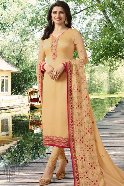 Beige Georgette Silk Straight Suit