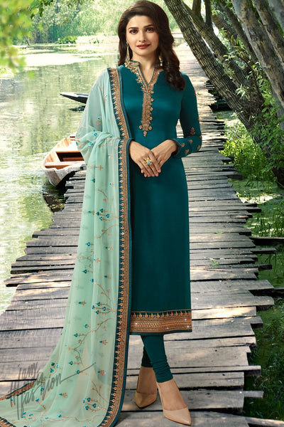 Peacock Green Georgette Silk Straight Suit