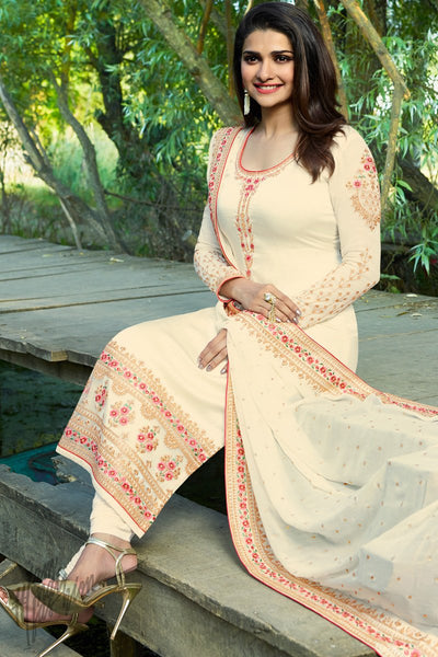 Off White Georgette Silk Straight Suit