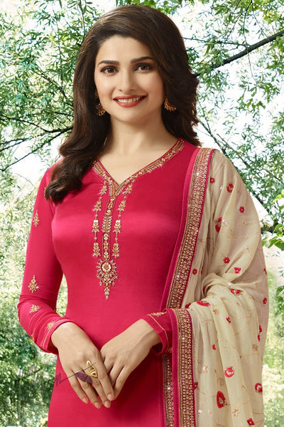 Red and Beige Georgette Silk Straight Suit