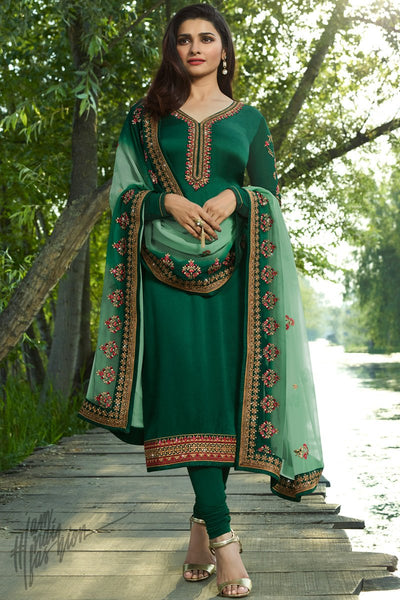 Bottle Green Georgette Silk Straight Suit