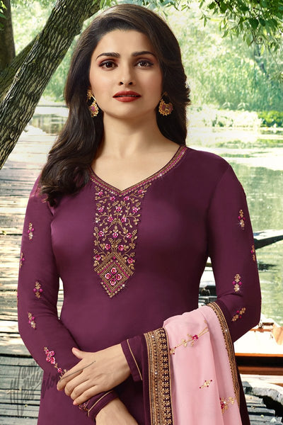 Sangria Purple and Pink Georgette Silk Straight Suit