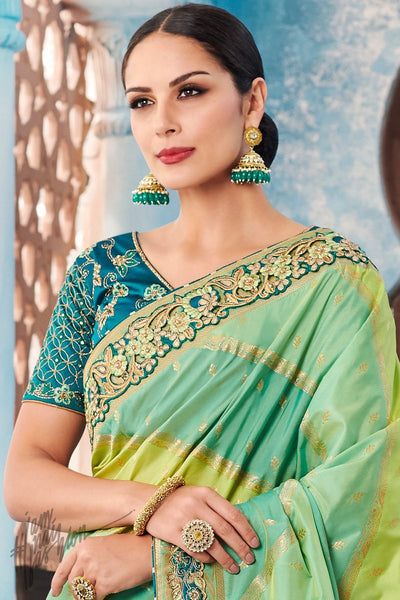 Green and Teal Dyed Banarasi Silk Saree