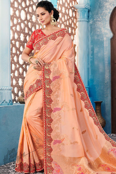 Peach and Red Dolla Silk Saree