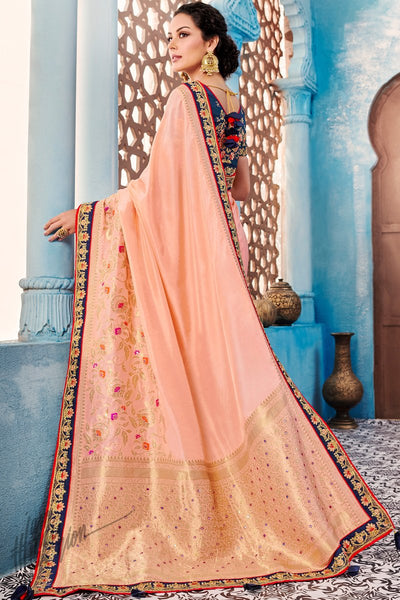 Peach and Navy Blue Dolla Silk Saree