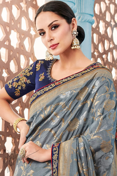 Silver Gray and Navy Blue Dolla Silk Saree