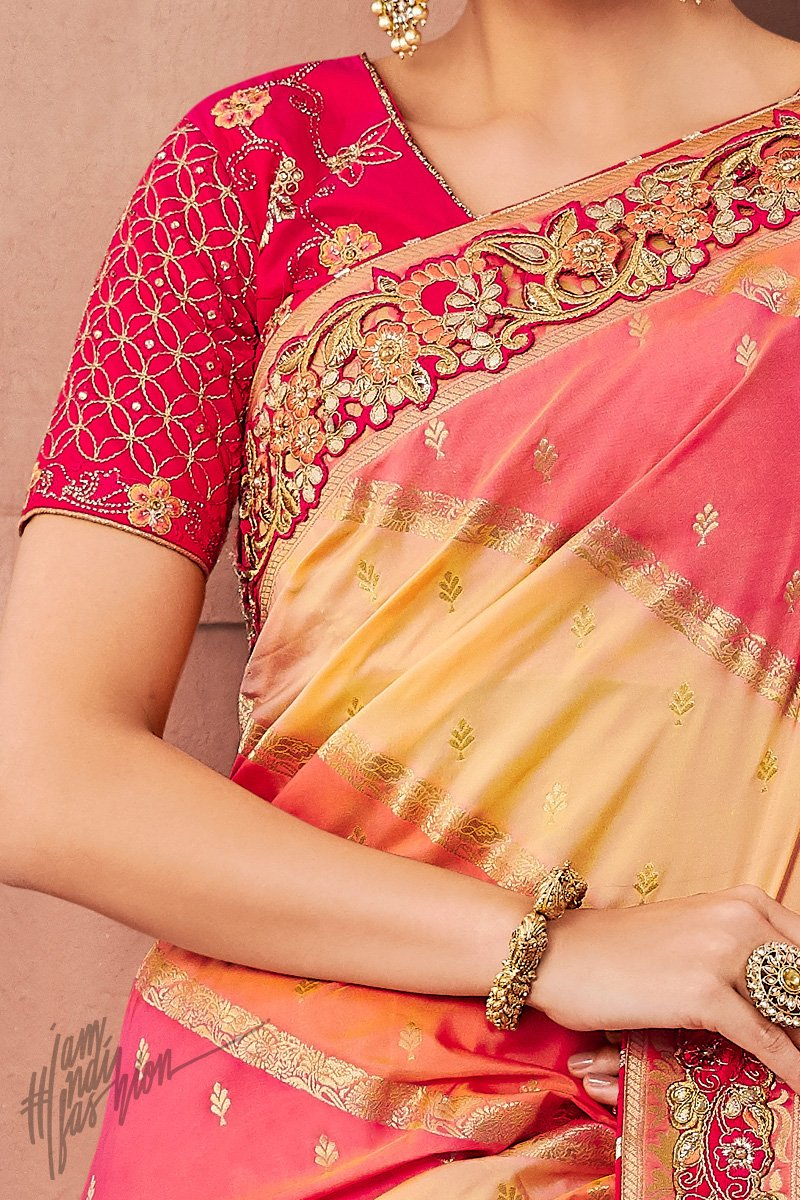 Peach Pink Yellow and Red Banarasi Silk Saree