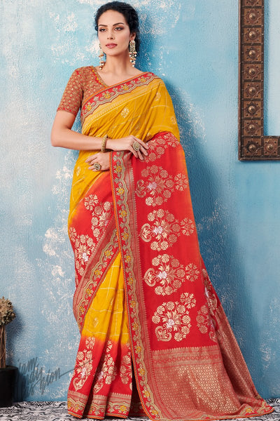Yellow and Red Dolla Silk Saree
