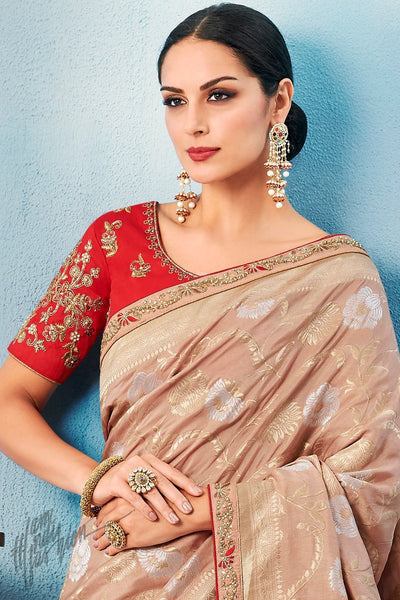 Light Peach and Red Dolla Silk Saree