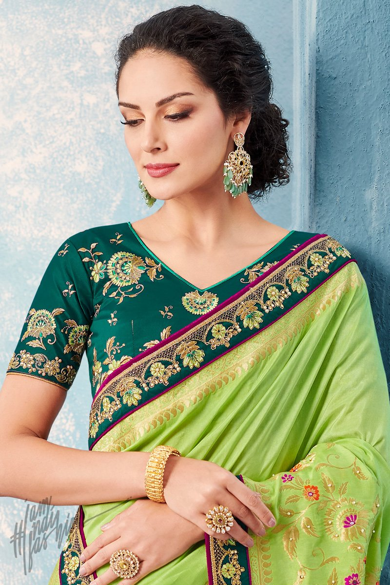 Parrot and Bottle Green Dolla Silk Saree