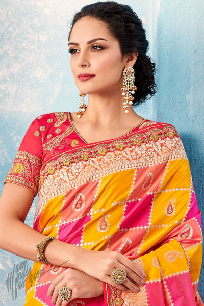 Peach Magenta Yellow and Red Banarasi Silk Saree