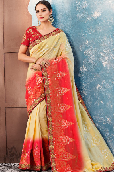 Cream and Red Dolla Silk Saree