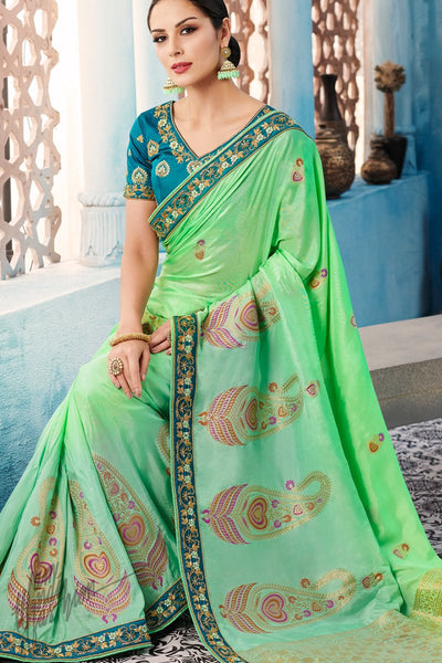 Teal and Green Dolla Silk Saree