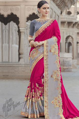 Indi Fashion Gray and Magenta Half and Half Georgette Silk Party Wear Saree