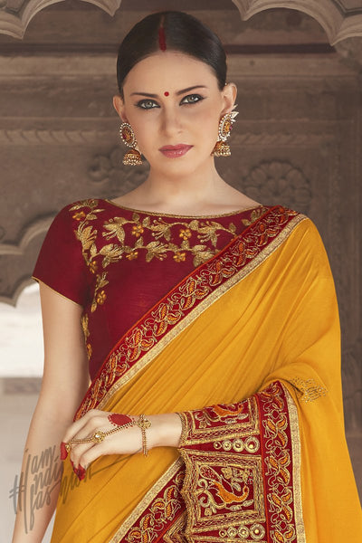 Indi Fashion Maroon and Yellow Georgette Silk Party Wear Saree
