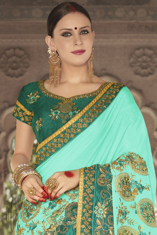Indi Fashion Green and Sky Blue Georgette Silk Party Wear Saree