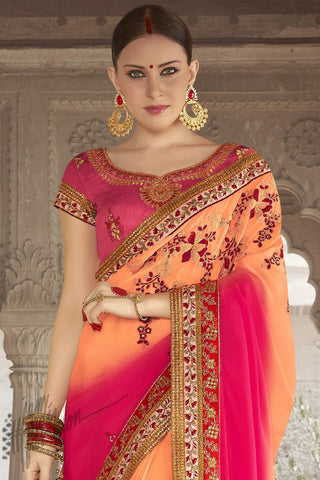 Indi Fashion Pink and Peach Shaded Georgette Silk Party Wear Saree