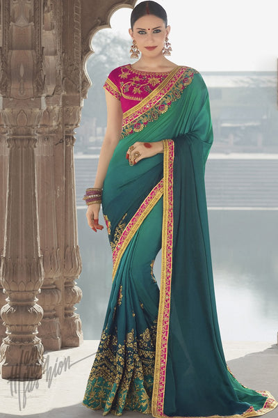 Indi Fashion Magenta and Green Ombre Georgette Silk Party Wear Saree