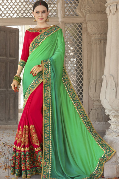 Indi Fashion Red and Parrot Green Half and Half Silk Satin Party Wear Saree