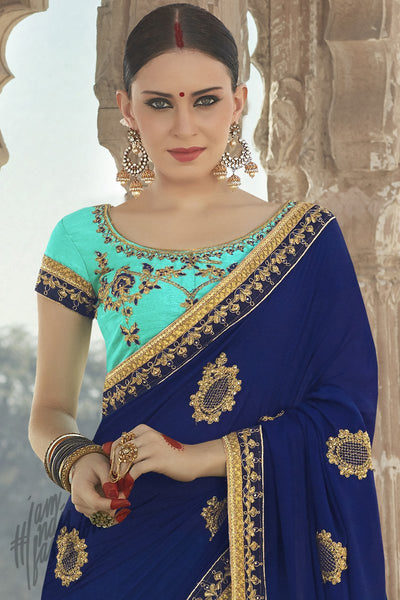 Indi Fashion Sky Blue and Navy Blue Half and HalfGeorgette Silk Party Wear Saree