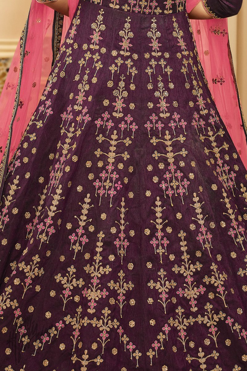 Wine and Pink Mulberry Silk Floor Length Suit