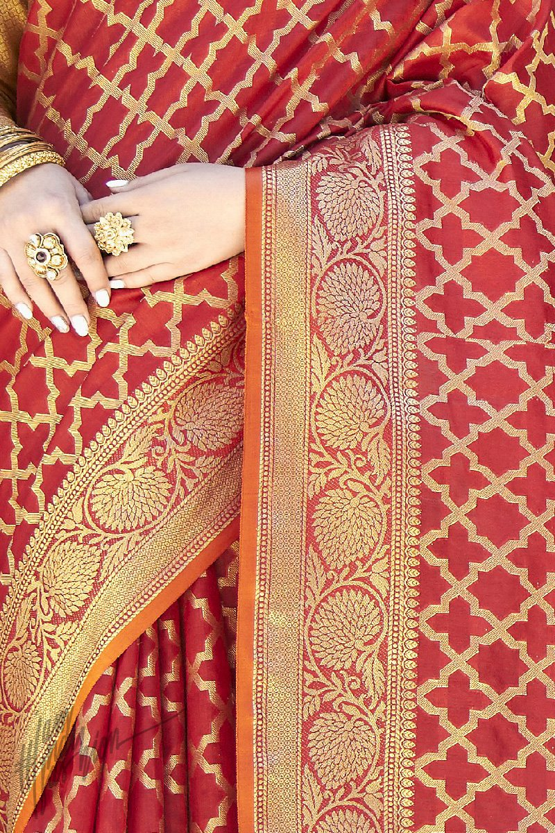 Red and Gold Silk Saree