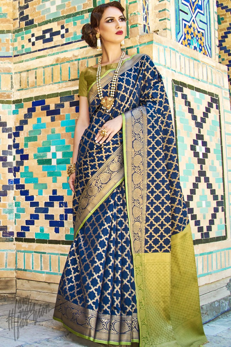 Blue and Green Silk Saree