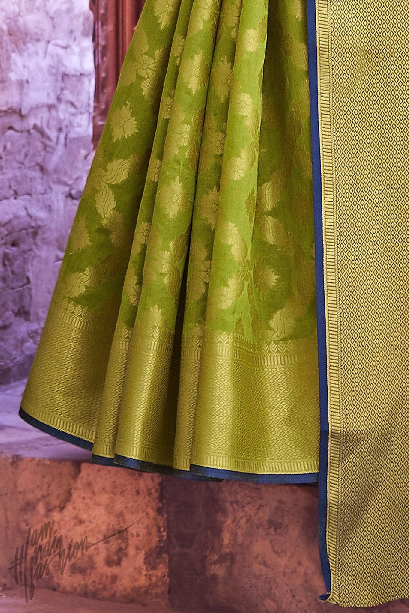 Green and Blue Silk Saree