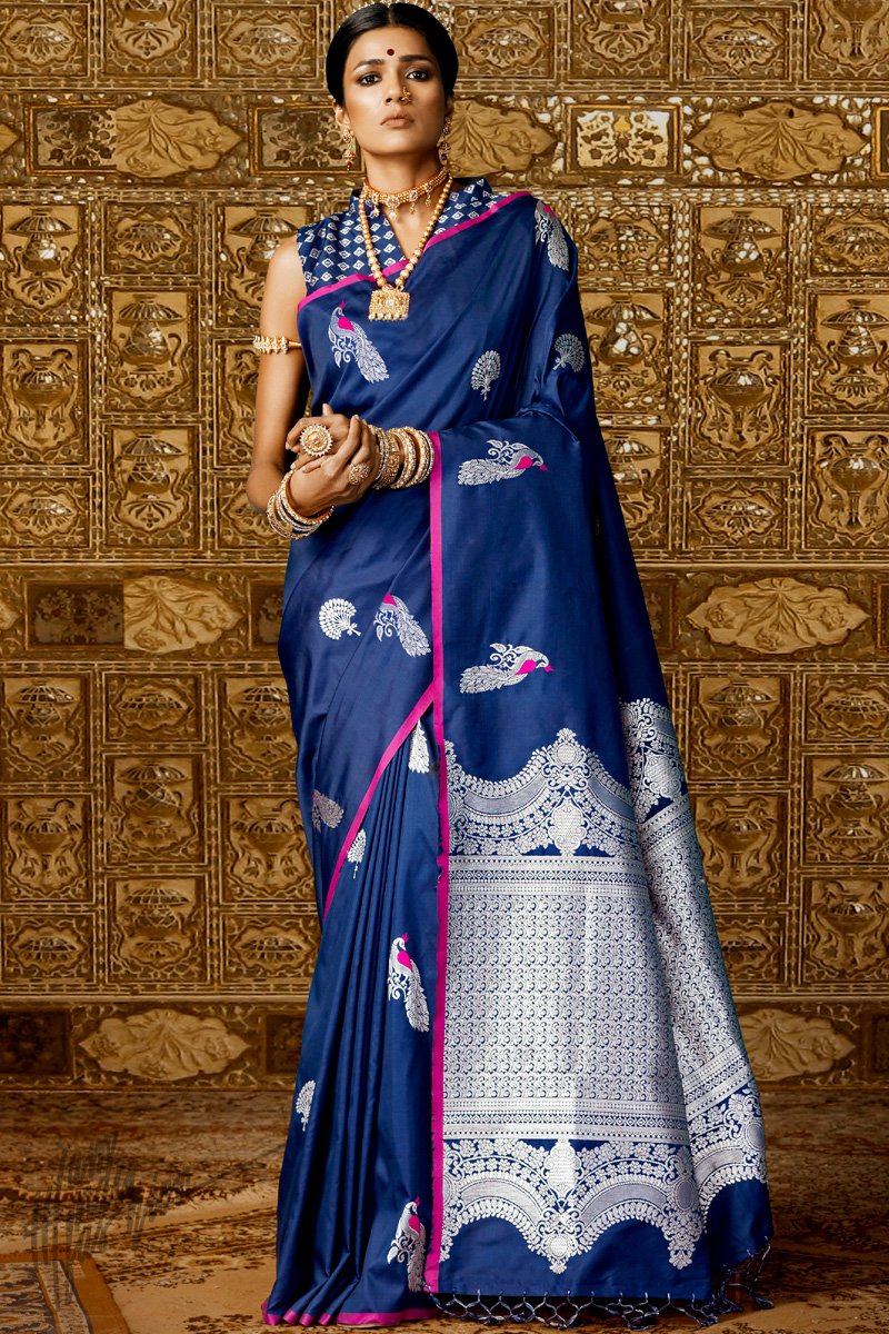 Navy Blue Kanthkala Silk Saree