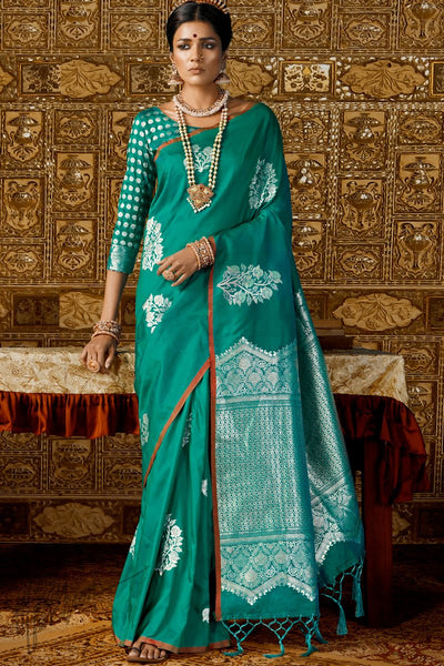 Sea Green Kanthkala Silk Saree