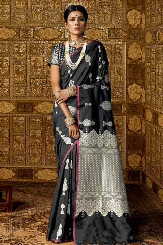 Black Kanthkala Silk Saree