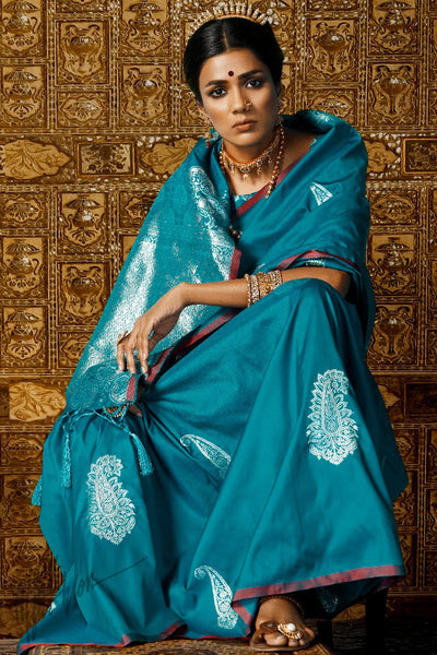Blue Kanthkala Silk Saree
