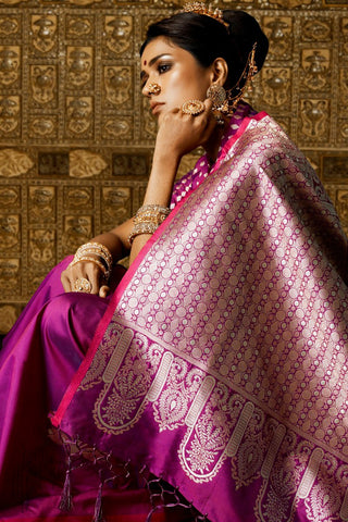 Plum Purple Kanthkala Silk Saree