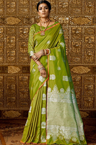Dark Olive Kanthkala Silk Saree