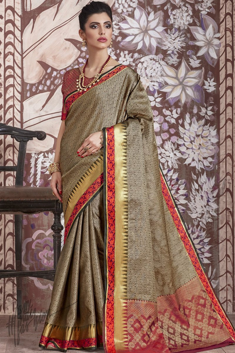 Light Olive and Maroon Silk Saree