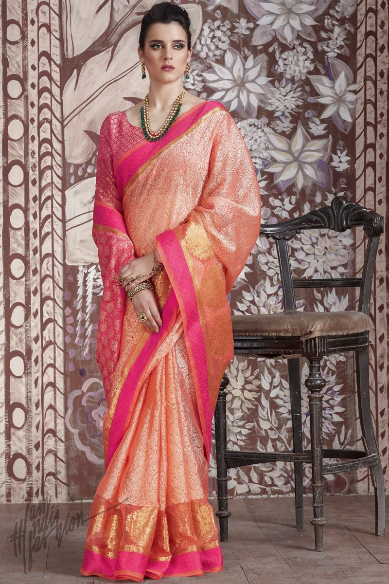 Peach and Magenta Silk Saree