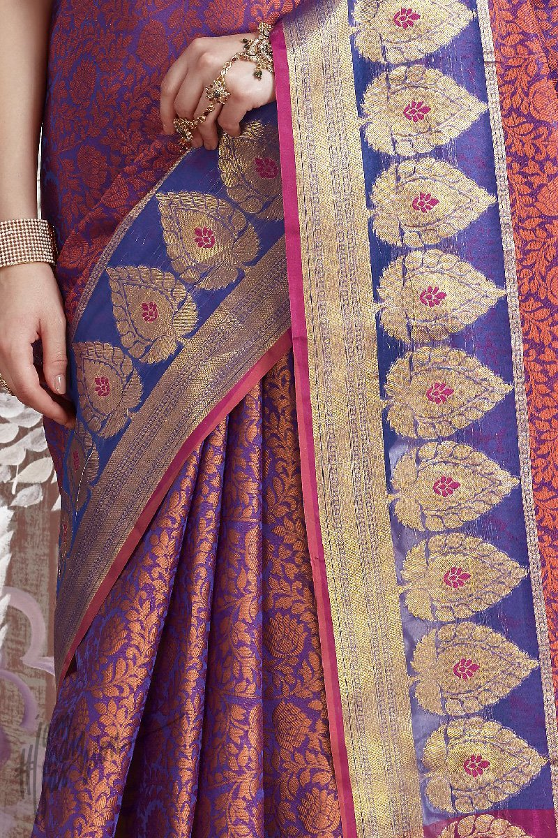 Blue and Rust Silk Saree