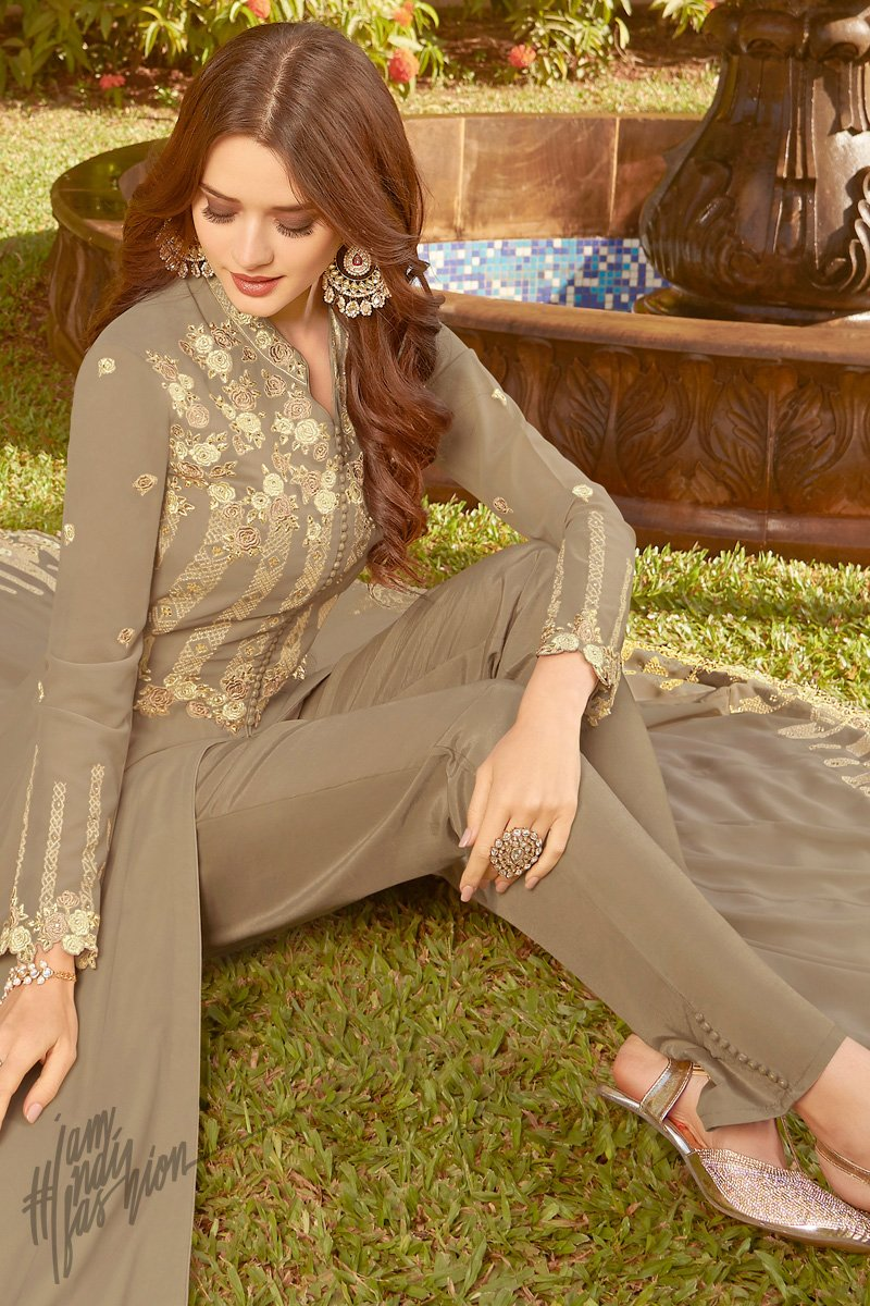 Tan Brown Soft Georgette Party Wear Suit